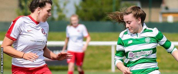Spartans' Dion McMahon battles Celtic's Kirsty Howat