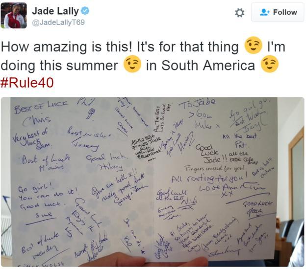 Jade Lally tweet