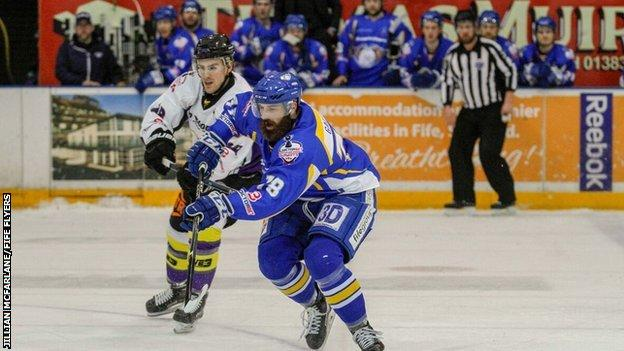 Flyers' Danick Gauthier tussles with Manchester's Scott Pitt during Saturday's game in Kirkcaldy