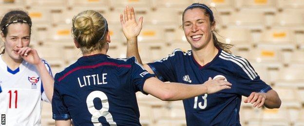 Scotland's Kim Little and Jane Ross celebrate