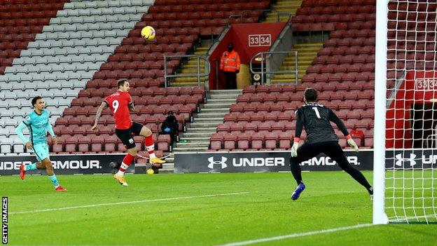 Danny Ings scored in the second minute of Southampton's 1-0 win over Liverpool on 4 January