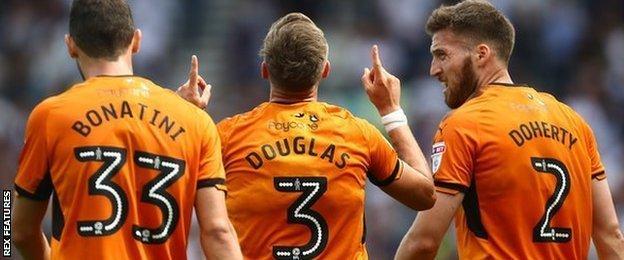 Barry Douglas scored Wolves' second league goal of the season to emulate last week's matchwinner Leo Bonatini