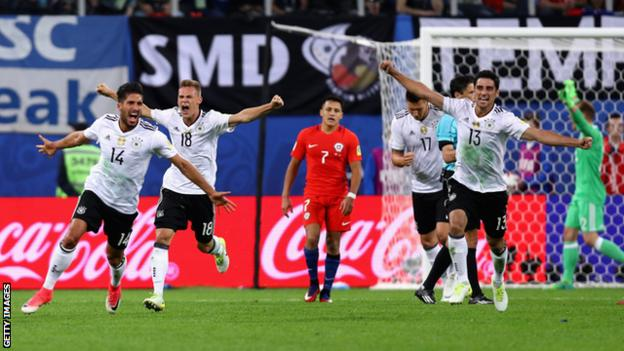 Germany celebrate beating Chile to win the 2017 Confederations Cup