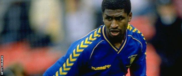 Carlton Fairweather in action for Wimbledon in 1988