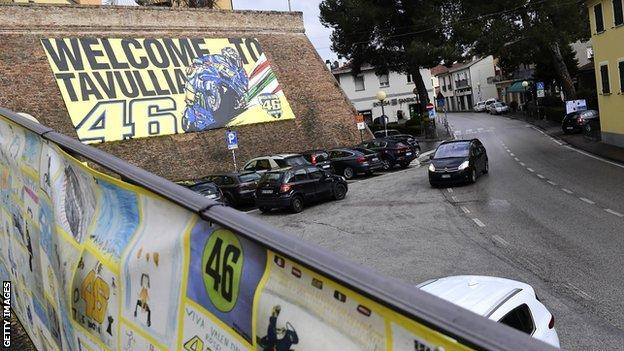 Valentino Rossi's hometown of Tavullia in Italy which fans like to visit