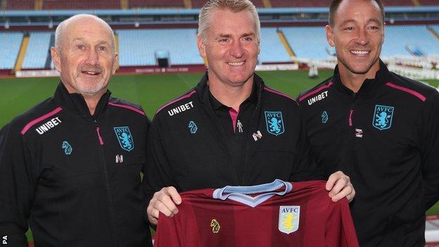 Richard O'Kelly, Dean Smith and John Terry at Aston Villa