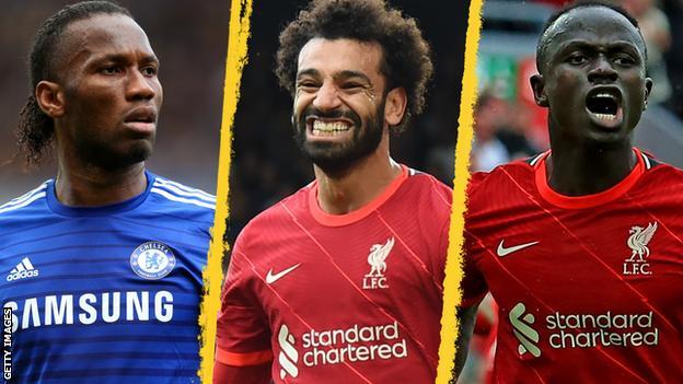 Didier Drogba, Mohamed Salah and Sadio Mane