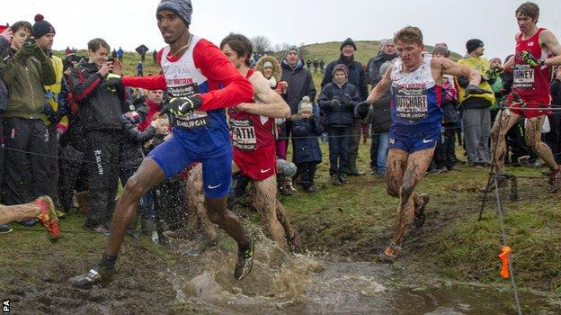 Mo Farah competing in the Great Edinburgh Cross Country