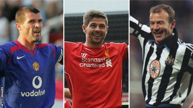 Roy Keane, Steven Gerrard and Alan Shearer