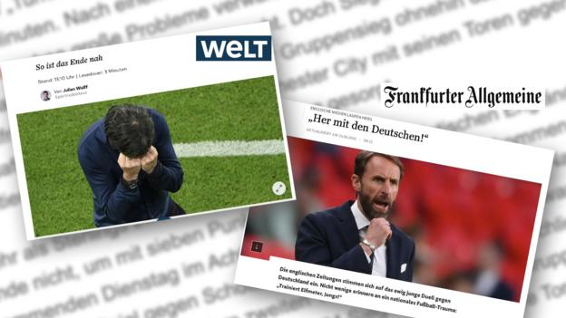 Screen grabs from Welt and FAZ newspapers