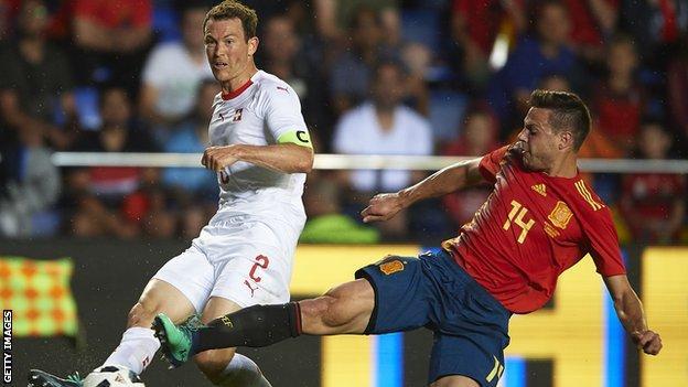 Stephan Lichtsteiner in action for Switzerland