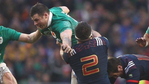 France hooker Guilhem Guirado tackles Ireland's Robbie Henshaw
