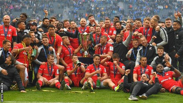 Saracens celebrate winning the 2019 Champions Cup