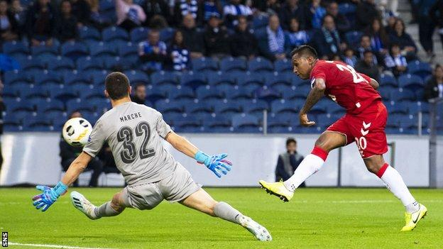 Rangers took a point at Porto with a first-half Alfredo Morelos equaliser