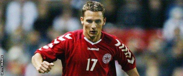Peter Lovenkrands in action for Denmark