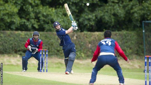 Scotland's cricketers in action against Nepal