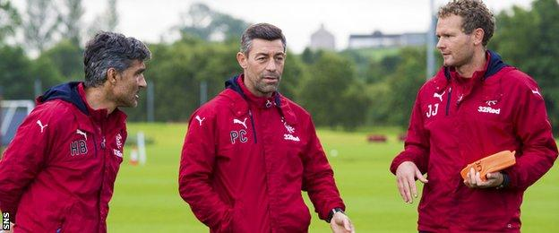 Rangers manager Pedro Caixinha and his coaching team