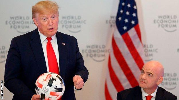 Fifa president Gianni Infantino and United States president Donald Trump