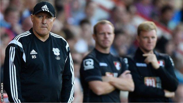 Russell Slade looks concerned during a Cardiff City match