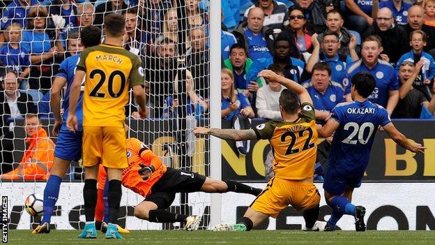 Shinji Okazaki scores for Leicester against Brighton