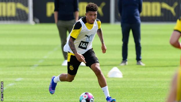 Borussia Dortmund's Jadon Sancho in training