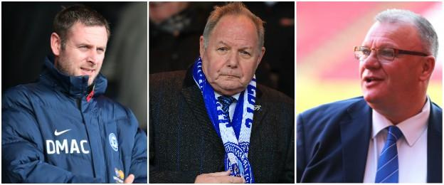 Darragh MacAnthony, Barry Fry and Steve Evans (left to right)