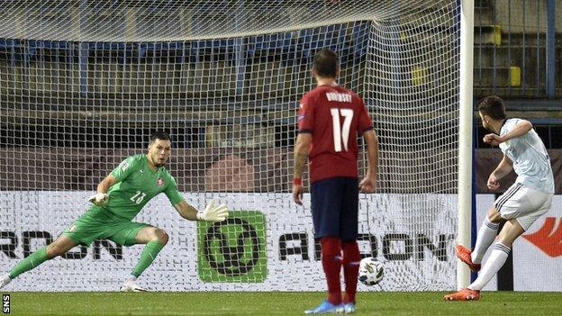 Ryan Christie scores a penalty for Scotland against Czech Republic