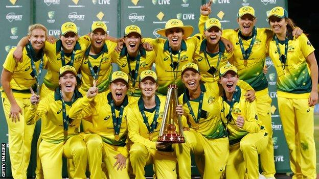 Australia with the Women's Ashes trophy