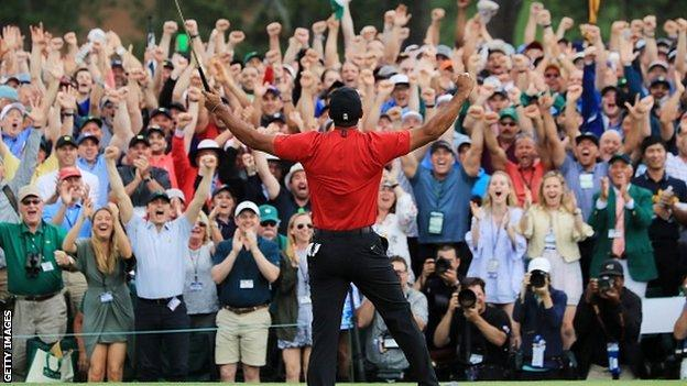 Augusta patrons celebrate Woods' victory