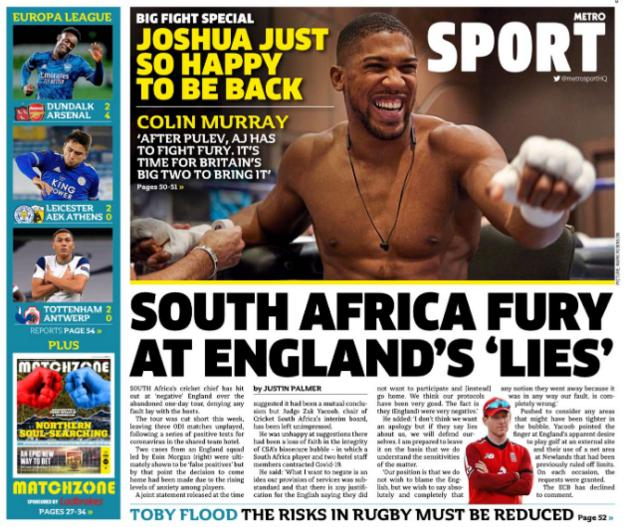 Friday's back pages: Metro Sport