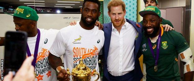 The Duke of Sussex visited the South Africa dressing room to congratulate the champions