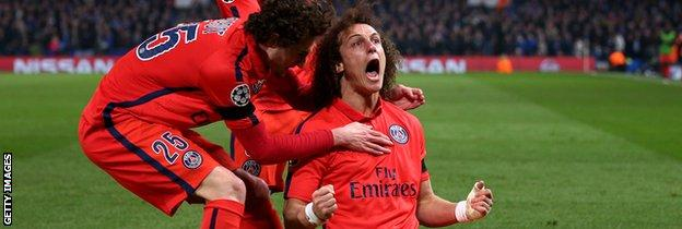 David Luiz celebrates his late headed goal for PSG