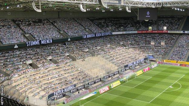 Borussia Park with cardboard cut-outs