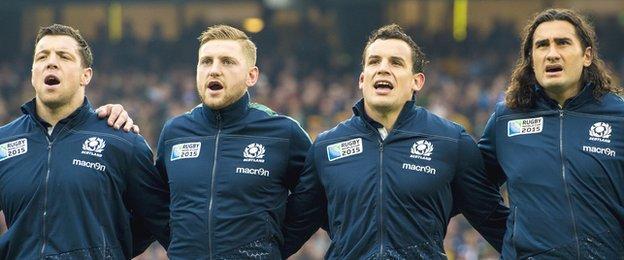 Scotland players Alasdair Dickinson, Finn Russell, John Hardie and Blair Cowan sing the national anthem before facing Australia at the World Cup