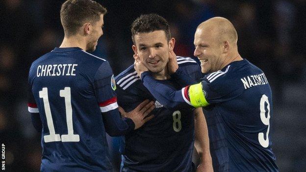 John McGinn (centre) scored twice in the 3-1 win over Kazakhstan