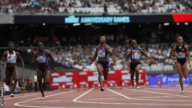 Shelly-Ann Fraser Pryce wins the 100m in London in 2019