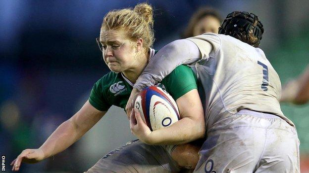 Cliodhna Moloney in action for Ireland against England in November