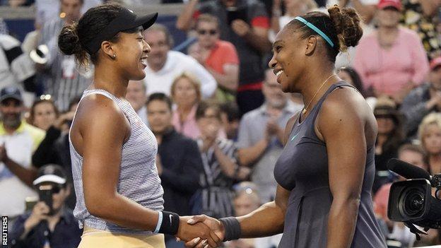 Naomi Osaka and Serena Williams at the Rogers Cup