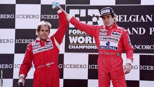 McLaren drivers Gerhard Berger and Ayrton Senna on the podium at the 1991 Belgium Grand Prix