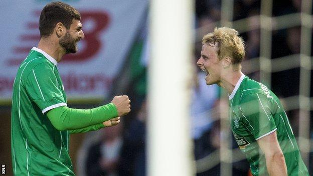 Nadir Ciftci and Gary Mackay-Steven celebrate for Celtic