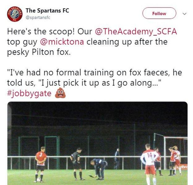 Spartans tweeted a photo of a club official clearing the mess