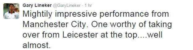 Gary Lineker tweet