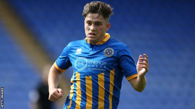 Daniel James in action for Shrewsbury Town