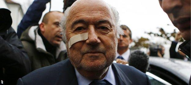 Blatter sports a plaster over his cheek, the result of a non-serious medical procedure