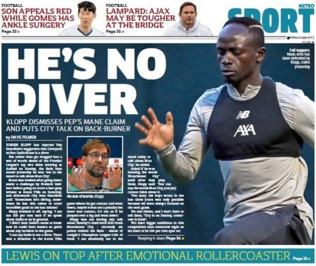The back page of the Metro