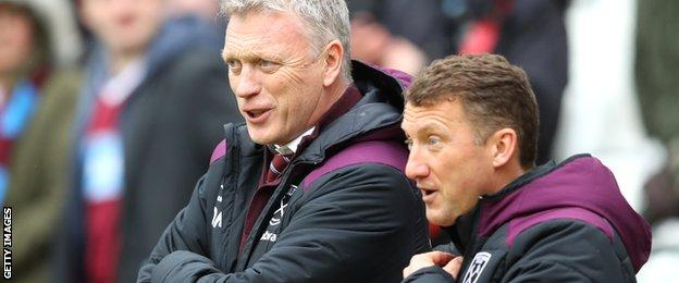 West Ham United manager David Moyes and assistant Billy McKinlay