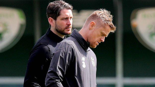 Ruaidhri Higgins and former Republic winger Damien Duff are part of Kenny's backroom team