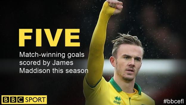 James Maddison raises his arm to the Norwich fans