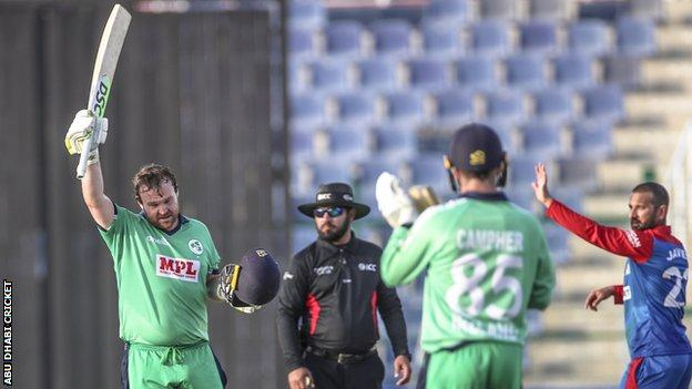 Paul Stirling celebrates his century in Tuesday's ODI at the Sheikh Zayed Stadium
