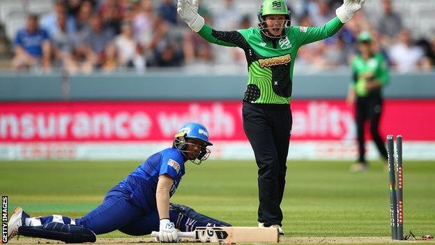 Carla Rudd stumps Deepti Sharma first ball